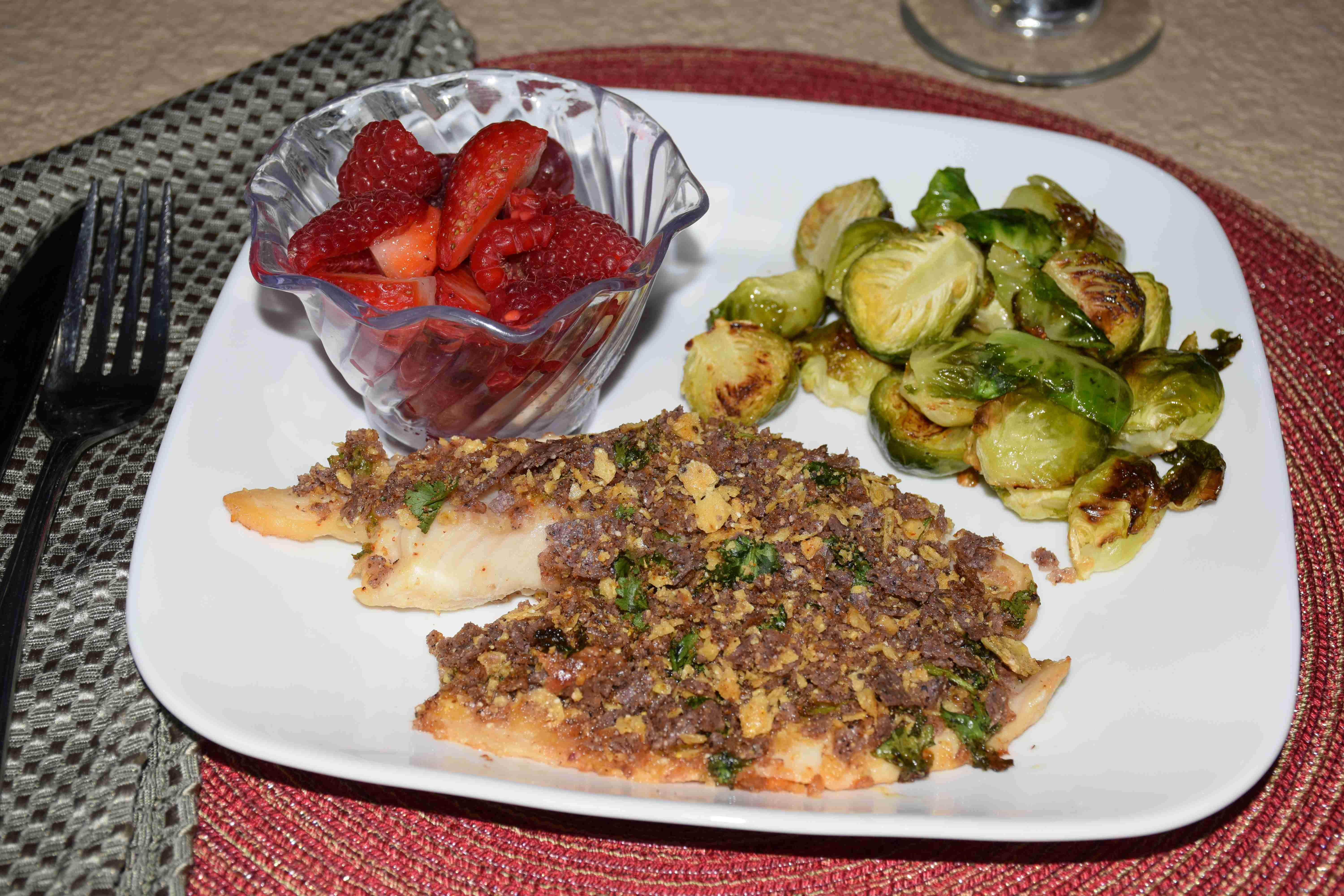 Tortilla Crusted Tilapia with Roasted Brussel Sprouts and Fruit