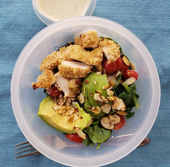 Home Made Crispy Chicken Salad with Dijon Honey Mustard Dressing