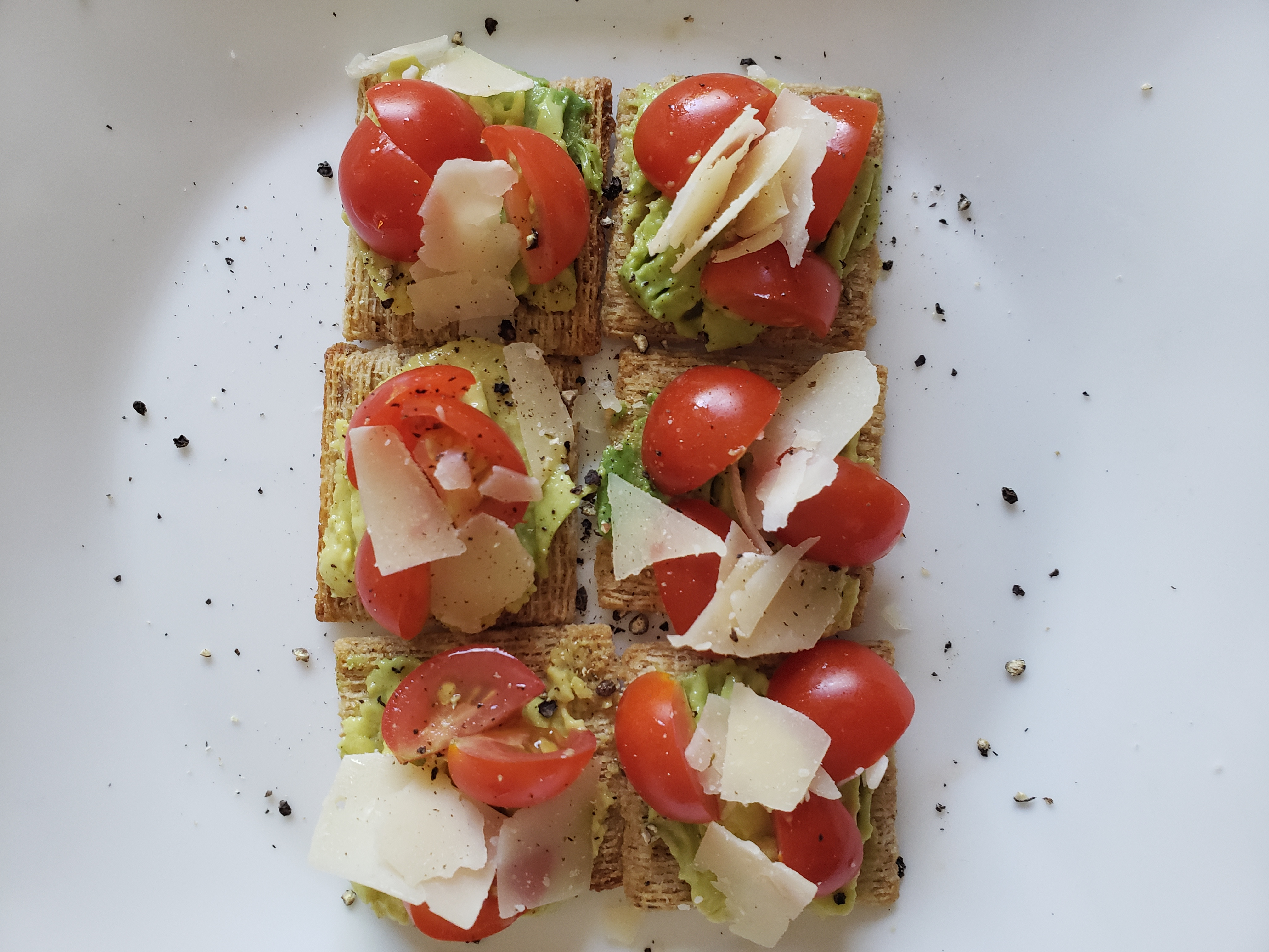 Avocado, Tomato, and Parmesan Crackers